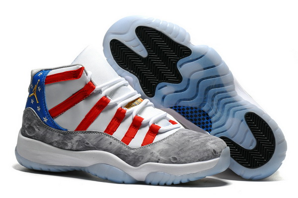 "Air Jordan 11 ""Moon Landing"" Shoes White/Blue red grey - Click Image to Close"